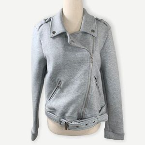 NWT DEX Sz L Heather Gray Moto Jacket Wow!